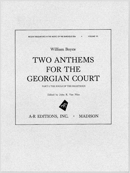 Boyce: Two Anthems for the Georgian Court