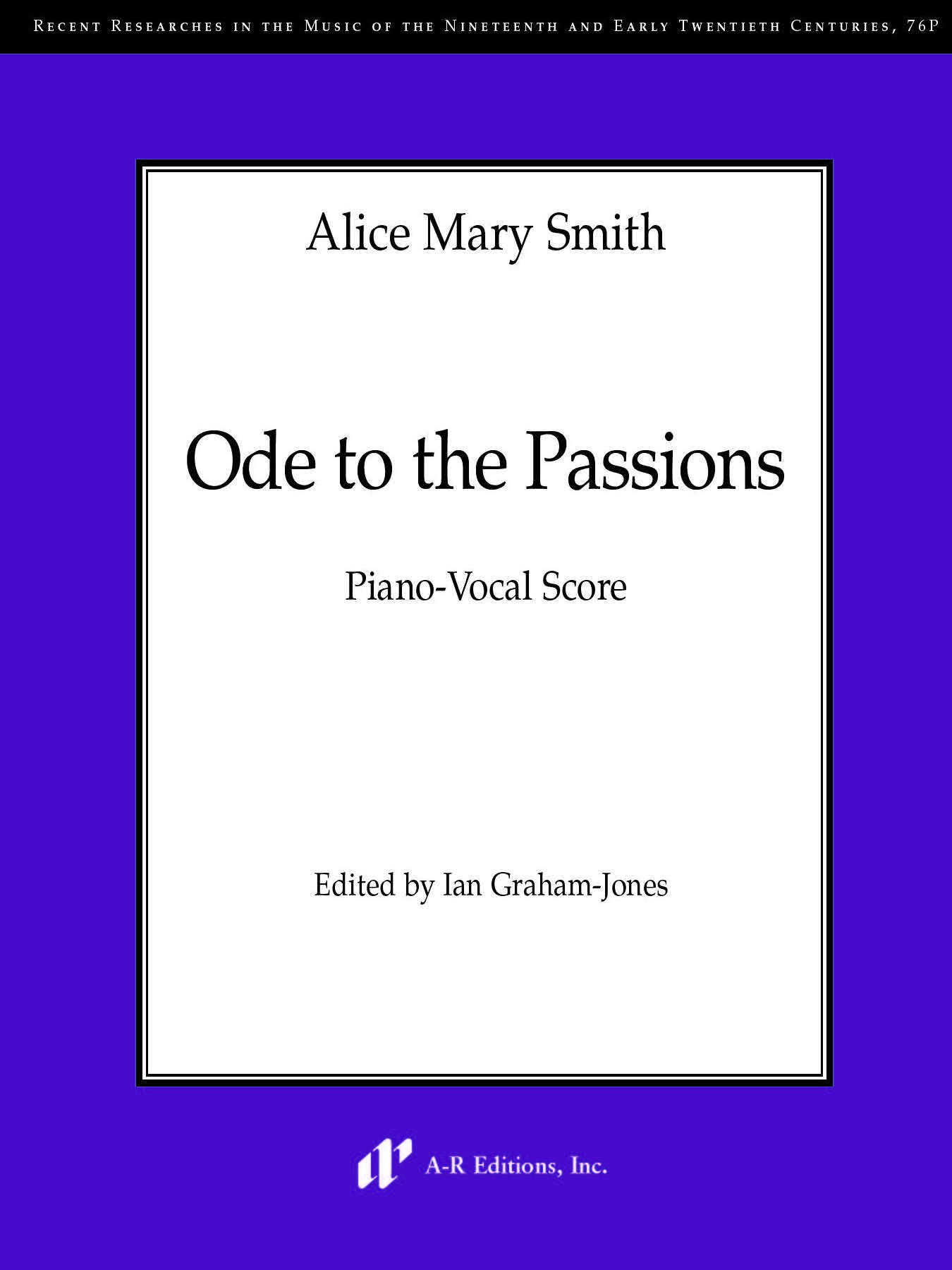 Smith: Ode to the Passions (Piano-vocal score)