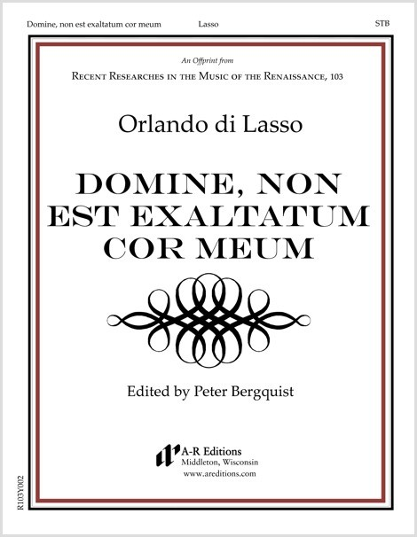 Lasso: Domine, non est exaltatum cor meum