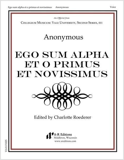 Anonymous: Ego sum alpha et o primus et novissimus