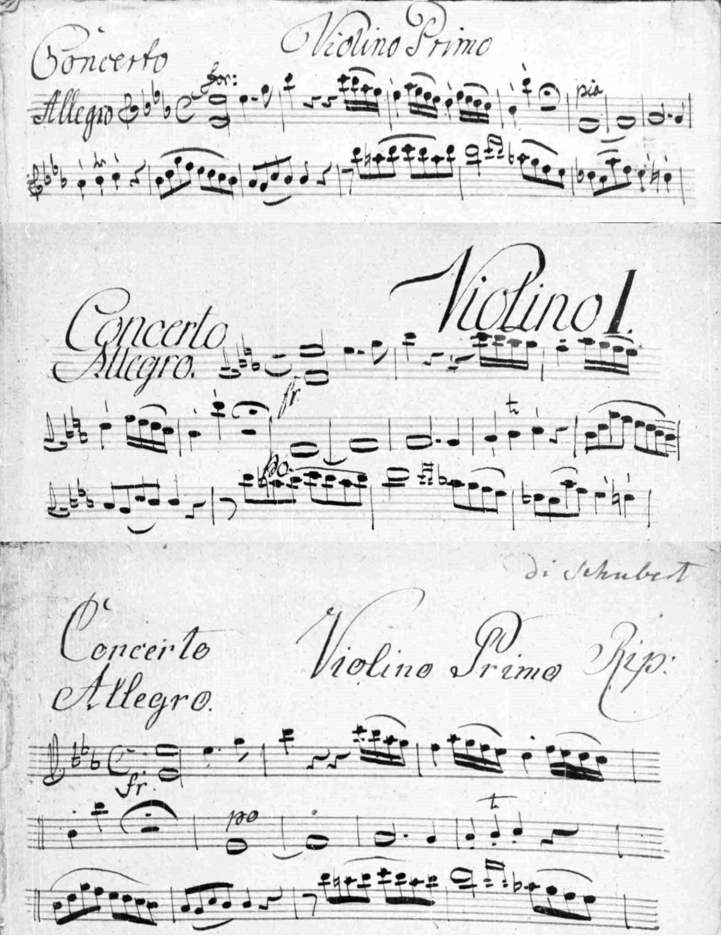 Figure 2. Examples of the three copyists' work from the opening of the first movement, first violin.