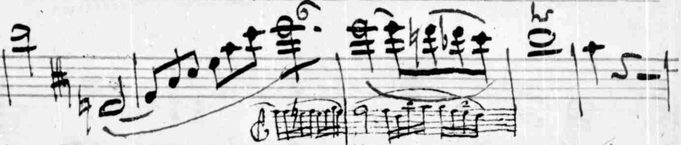 Figure 3. Viola solo part showing performer's alterations, first movement, measures 134–38.