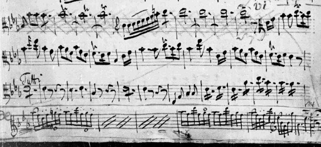 Figure 4. Viola solo part showing performer's alterations, measures 253–78.