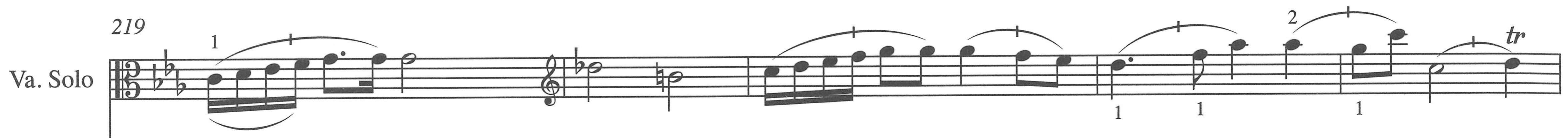 Figure 5. Viola solo part, third movement, measures 219–23.
