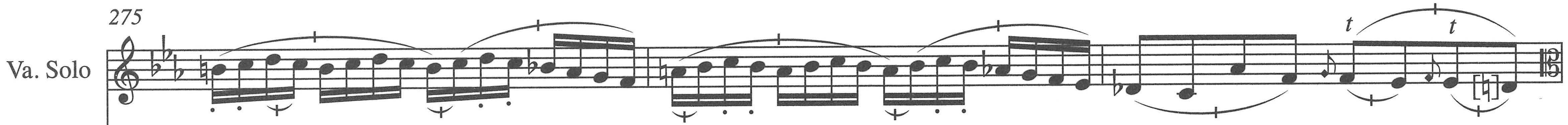Figure 6. Viola solo part, first movement, measures 275–77.