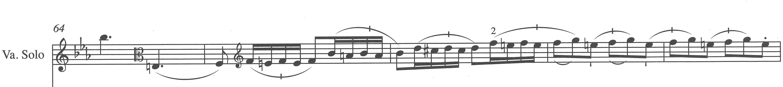 Figure 7. Viola solo part, third movement, measures 64–68.